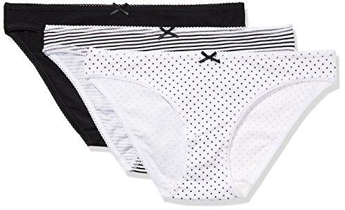 Iris & Lilly Women's Cotton Bikini with Bow,  Pack of 3,  Black/Print, XL (US - Bikini Mini Print