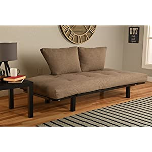 Best Futon Lounger - MATTRESS ONLY - Sit Lounge Sleep - Small Furniture for College Dorm, Bedroom Studio Apartment Guest Room Covered Patio Porch (TAN STONE LINEN)