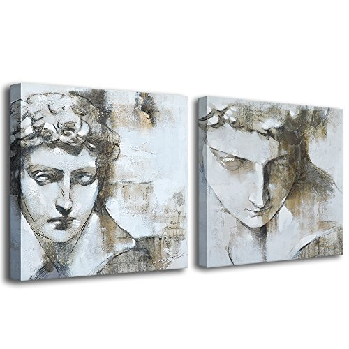 Pencil Print Art Framed - Crescent Art Framed Classic Black and White Greece David Statue Charcoal Pencil Sketch Painting Picture on Canvas Printing Wall Art for Living Room Wall Decor (24 x 24 inch, Set of A & B)