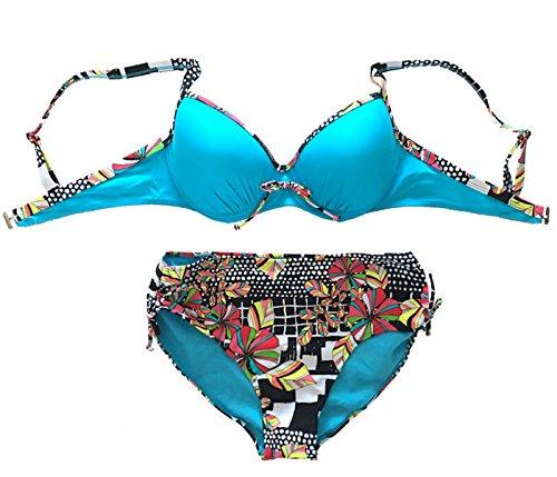 Feoya Conjuntos de Bikini Traje de Natación de 2 piezas Bañador Estampado Azul