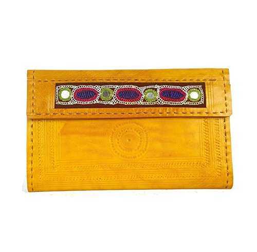 Leather Trifold wallet iPhone clutch for women yellow handmade