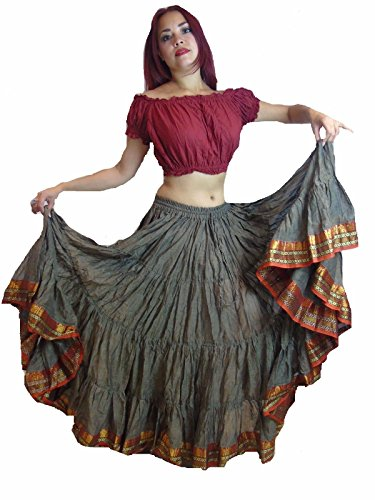 Dancers World Ltd (UK Seller) 25 Yard Gypsy Bellydance Skirt, Tribal Fusion Dance Skirt, Hippy Boho Festival (Light Brown Red Black)