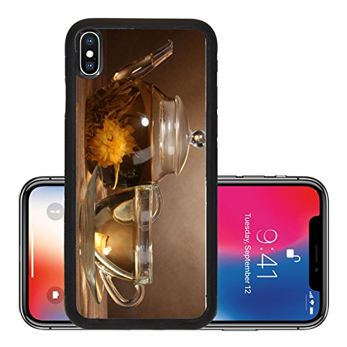 Liili Premium Apple iPhone X Aluminum Backplate Bumper Snap Case IMAGE ID: 13820272 glass teapot and cup with exotic green tea on wooden table on brown background