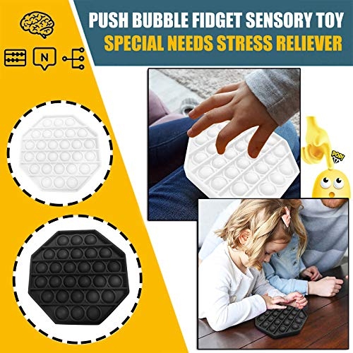 Stress Reliever Autism Fidget Toy Push pop Bubble Sensory Octagon Toy Anti-Anxiety Toys for The Old and The Young Orange