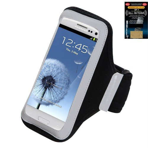 Premium Sport Armband Case for Samsung Galaxy Axiom R830 - Black + Cell Phone Antenna Booster