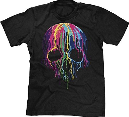 Blittzen Mens T-shirt Melting Skull, Large, Black