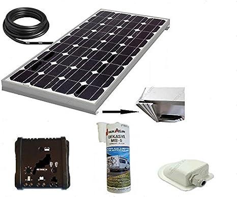 ANTARION Kit de Panel Solar 140 W 12 V monocristalino para Camping Car + regulador + Cable + fijación + Pegamento
