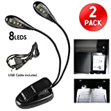 Ganvol (Pack of 2) Dual Arms Clip On LED Reading Light, 8 LEDs 2 Arms, Flexible Eye-care Dimmable Book Reading Lamp with 2 Adjustable Arms for eReader, Bed, Music Stand, BBQ Grilling and Travel