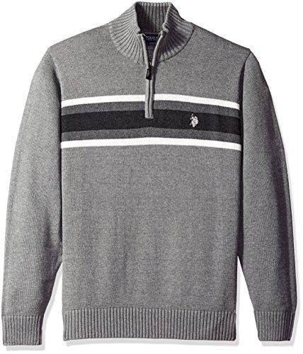 U.S. Polo Assn. Men's Tri-Color Chest Stripe 1/4 Zip Sweater, Moon Heather, Medium by U.S. Polo Assn.
