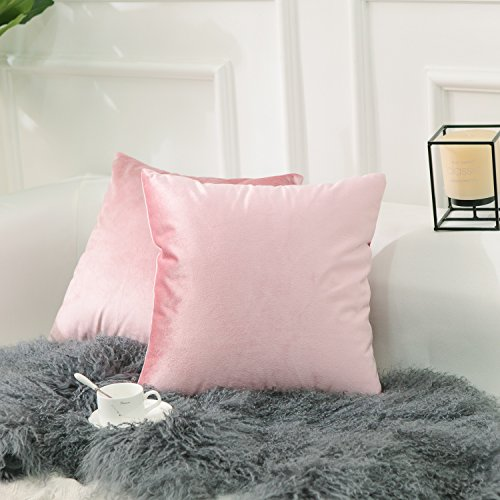 Pink Pillowcase (Home Brilliant 2 Pack Valentines Day Decorations Velvet Cushion Covers Set Throw Pillow Cases Covers Square Decorative Pillowcases, 18 x 18 inches(45x45 cm), Blush Pink)