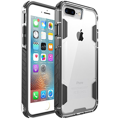 iPhone 8 Plus Case,iPhone 7 Plus Case,Zisure[Rock Sugar] Heavy Duty Crystal Solid Clear Case Durable Shatterproof Sports Cover for iPhone 8 Plus/iPhone 7 Plus 5.5 inch (Black)