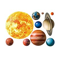 CHengQiSM Planet Wall Decals, Wallpaper Decorations Removable Solar System Watercolor Space Wall Stickers for Home Livingroom Decor Children Bedroom Kindergarten Room Playroom Wall Mural