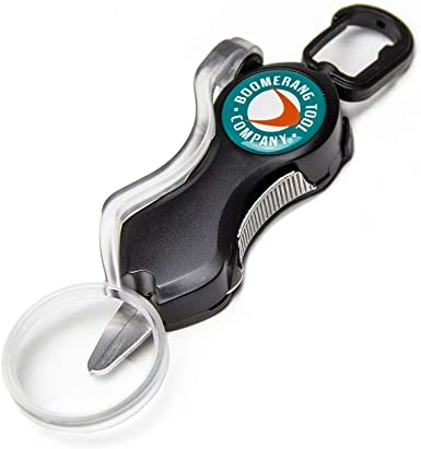Mono and Fluoro Lines Clean and Smooth! Boomerang Tool Company SNIP Fishing Line Cutters with Retractable Tether and Stainless Steel Blades that Cut Braid