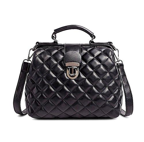 Mn&Sue Designer Diamond Quilted Pattern Leather Top Handle Lady Handbag Shoulder Satchel Bag Doctor Purse (Black) (Quilted Bowler Bag)