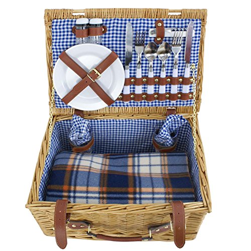 16Pcs Deluxe 2 Person Wicker Picnic Basket Hamper Set with Flatware and Wine Glasses (Stock US)