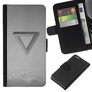 KLONGSHOP // Tirón de la caja Cartera de cuero con ranuras para tarjetas - Banda Ilusión óptica Música Negro Blanco - Apple Iphone 5C //
