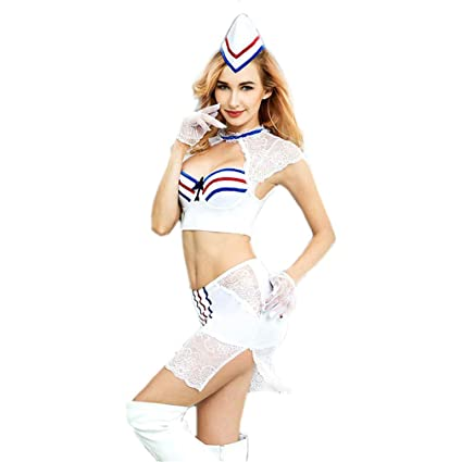 LCWORD Mujeres Lencería Erótica Azafata Cosplay Uniforme Blanco Bustier con Mini Ropa Interior Fetiche