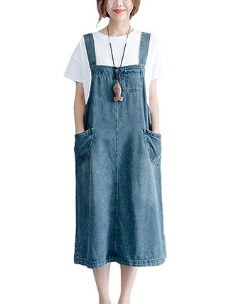 6620df29238 ShiFan Womens Baggy Denim Dungaree Dress Elegant Casual Pinafore Long Dress  Denim Blue L  Amazon.co.uk  Clothing