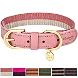 "Blueberry Pet 6 Colors Vintage Chic Two Tone Soft Genuine Leather and Polyester Webbing Dog Collar in Pink and Grey, Small, Neck 12""-15"", Adjustable Collars for Dogs"