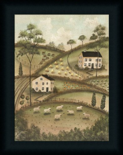 Saltbox House Folk Art (Cozy Hillside by Aleta Blackstone Salt Box House Country Americana Framed Art Print Wall Decor)