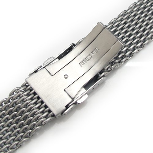 19mm Ploprof 316 Reform Stainless Steel ''SHARK'' Mesh Milanese Watch Band, Brushed, BB by 19mm Mesh Band (Image #3)