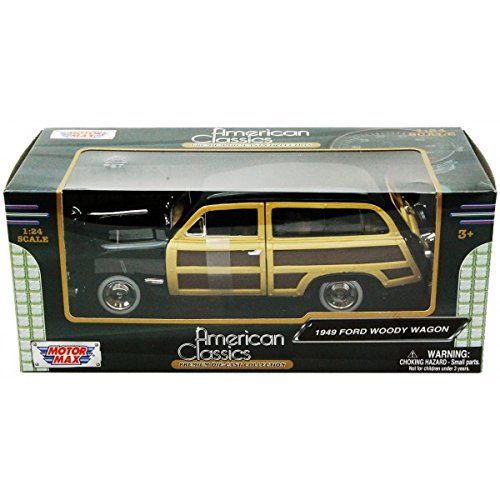 New 1:24 W/B MOTOR MAX AMERICAN CLASSICS COLLECTION - BLACK 1949 FORD WOODY WAGON Diecast Model Car By MOTOR MAX