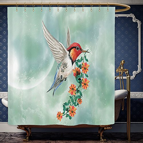 Wanranhome Custom-made shower curtain Hummingbirds Set A Hummingbird Is Flying With A Flowered Branch Floral Nature Illustration Orange Green For Bathroom Decoration 36 x 72 inches (Red Curtains Flowered)