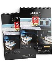 ARTEZA Carnet croquis noir 29.7 x 42 cm, Kit de 2, 60 pages (90lbs/150gmc), 2x30 pages, Reliure Spirale, Haut Grammage, Idéal pour Graphite & Crayon Couleur, Fusain, Huile, Pastel, Stylo Gel, Craie