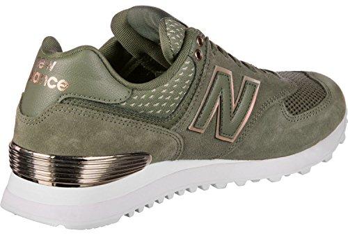 New Balance Womens 574v2 Sneaker Military Foliage Green / Rose Gold / Metallic