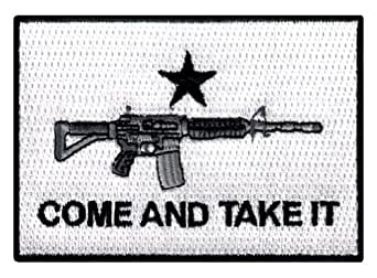 Come Take It AR15 Flag Embroidered Patch Iron-On 2nd Amendment Gun Assault Rifle