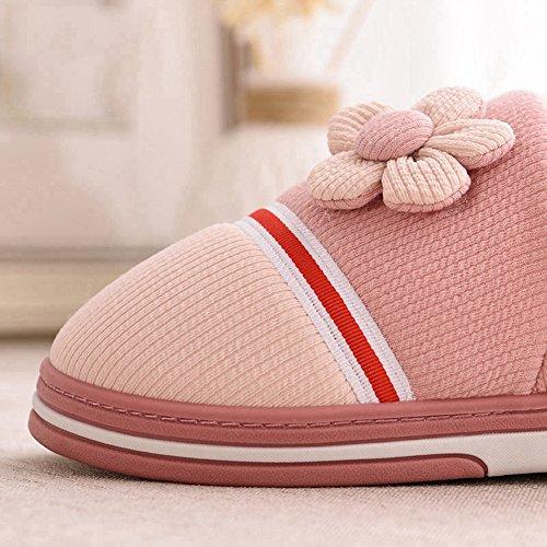 Inverno Accogliente Donna Caldo Fiore Pelliccia Casa Pantofole Antiscivolo Velluto Peluche In Casa Coppie Pantofole Casa Rosa