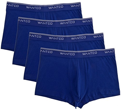 Wanted Men's 4 Pack Cotton Stretch Sports-Inspired Boxer Brief Underwear (Navy, Large)