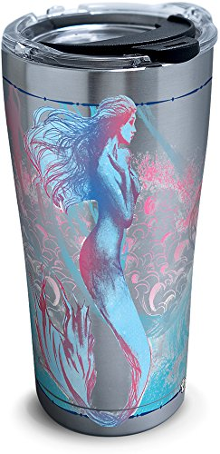 Tervis 1304552 Old Legend Mermaid Stainless Steel Insulated Tumbler with Clear and Black Hammer Lid, 20oz, Silver (Mermaid Cup Coffee)