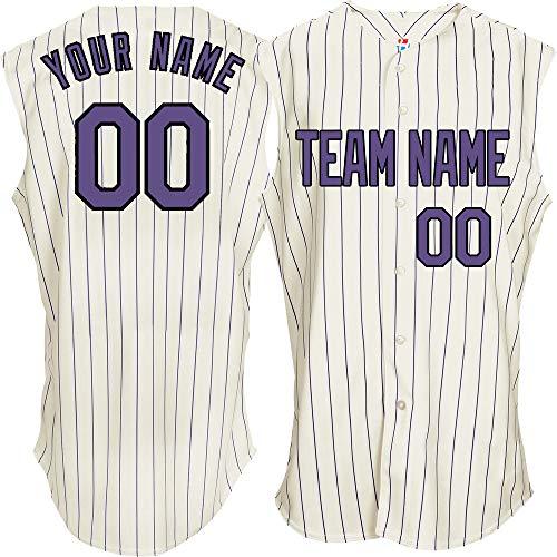 (Pinstriped Women's Custom Baseball Jersey Sleeveless Embroidered Name,Purple-Black Size L)