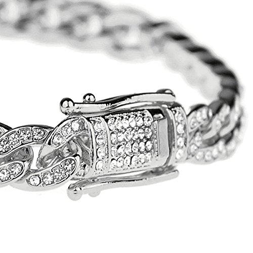 Mens Bling Bracelet Iced-Out Silver Tone Hip Hop Cuban Link 8'' Inch x 8 MM Wide by Bling Cartel