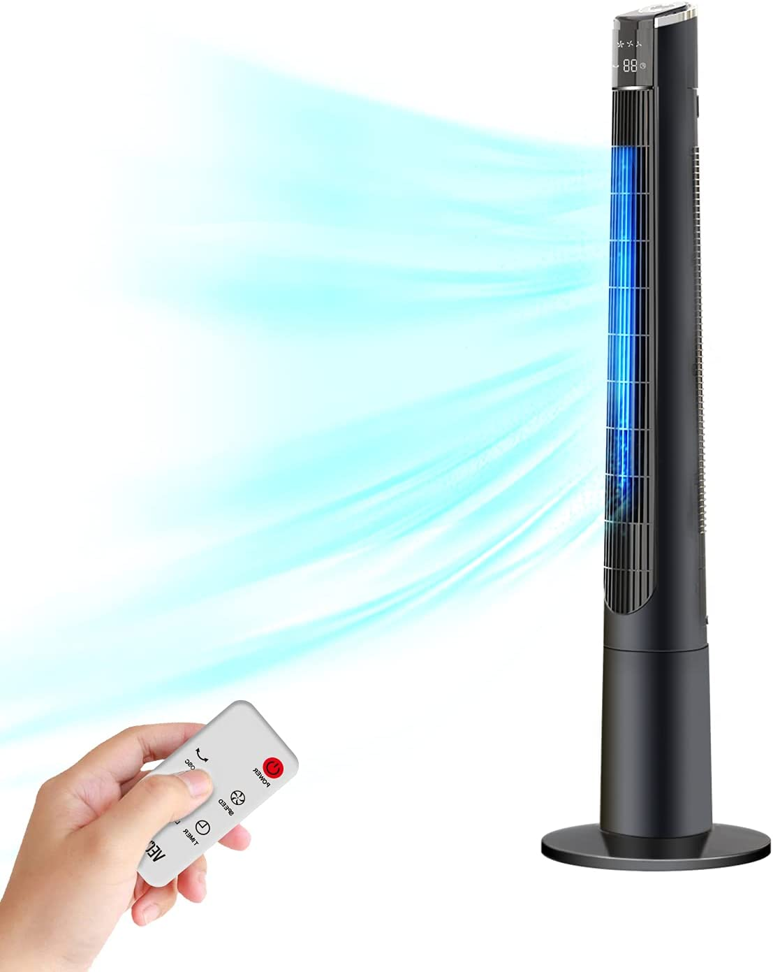 Tower Fan for Bedroom- 48'' Oscillating Fan with Remote, Cooling, Quiet, Large LED Display, 12-Hour Timer, Electric Black Standing Bladeless Fan for Whole House, Home, Office, Living Room