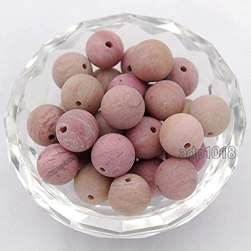 AD Beads Natural Matte Frosted Gemstone Round Spacer Loose Beads 4mm 6mm 8mm 10mm 12mm (8mm, Matte Pink Rhodonite)