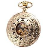 AMPM24 Mechanical Hand Wind Pocket Watch Skeleton Unisex Golden Case WPK188