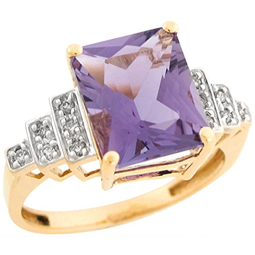 - 10k Real Two Tone Gold Amethyst Diamond Accent Brilliant Ring
