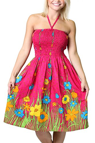 (Alki'i One-Size-fits-Most Tube Dress/Coverup - Flower Garden Pink)
