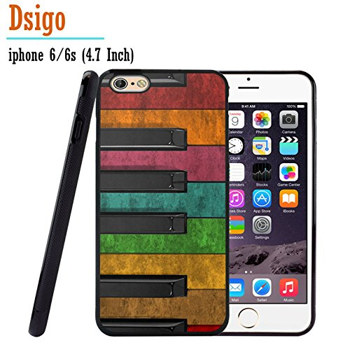 iPhone 6S Case, iPhone 6 Case, Dsigo TPU Black Full Cover Protective Case for New Apple iPhone 6/6S 4.7 inch - Vintage Piano Keys