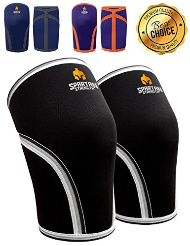 "Spartan Strength Weightlifting Knee Braces (Pair) - Support and Compression for Weightlifting, Powerlifting, Deadlifts, Other Sports - 7mm Neoprene, S - Knee Measurement 11 1/2"" - 12 1/2"""