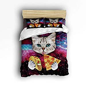 Cloud Dream Home 4 Piece Bedding Set, Cat Eating Pizza Duvet Cover Set Quilt Bedspread for Childrens/Kids/Teens/Adults Full Size