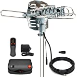 InstallerParts Snap On HD Antennas: Amplified Indoor/Outdoor High Definition Digital Yagi Antenna for 1080p HDTV with 150 Mile Range - Motorized for 360° TV Rotation with Wireless Remote Control