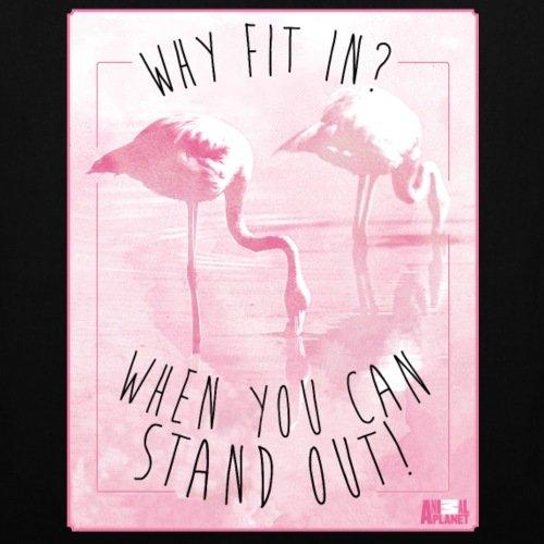 Spreadshirt Animal Planet Flamingos Stand Out Spruch Stoffbeutel Schwarz