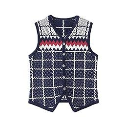 Ellove Chic Warm Kid Knits Button Tops Toddler Infant Boy Cardigan Sweater Vest Navy 150cm/US 7Y-8Y