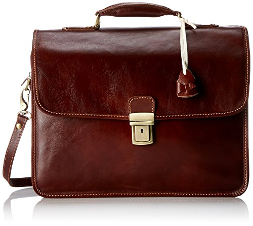 Floto Luggage Cortona Laptop Brief, Vecchio Brown, (Medium Laptop Brief)