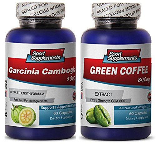 Green Coffee Cleanse Ultra and Garcinia Cambogia Plus - Green Coffee Cleanse 800mg - Natural Green Coffee Cleanse to Boost Energy and Improve Mood (2 Bottles 120 Capsules) ()