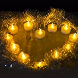 ANLight 24pcs Amber Yellow Tea Lights with Timer Function Battery Operated LED Candles for Indoor, Thankgiving Days, Christmas Day