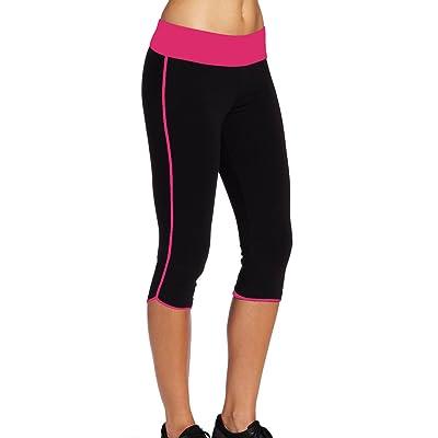 Ladyhers Women's Audel Cotton Yoga Capris Pants Tummy Control Workout Running Leggings 4 Way Stretch
